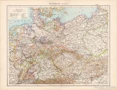 Németország (politikai) térkép 1881, német, eredeti, régi