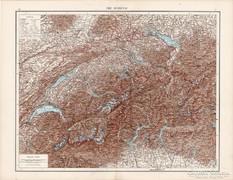 Svájc térkép, Itália északi része 1881, német, eredeti