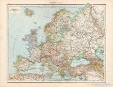 Európa (politikai) térkép 1881, német, eredeti, XIX. századi