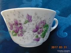 Bécsi ibolyás vastagfalu számozott teás csésze 11x6,5 cm