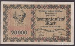 1923. Würtenberg 20.000 Mark.