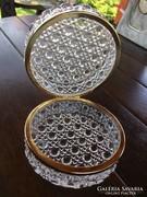 Álomszép üveg doboz fém peremmel 12cm átmérő