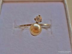 Szép kis gyöngyös cirkonos  ezüst gyűrű