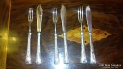 Ezüst szecessziós halas készlet (3 személyes)
