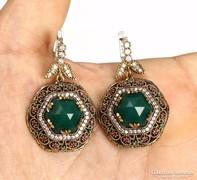 Smaragd köves ezüst fülbevaló