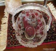Asztalközép - üvegkosár 18 x 14 cm