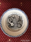 Francia keménycserép tányér 1870-1910