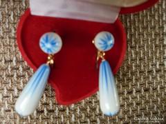 Különleges aqua színezésű porcelán fülbevaló/klipsz