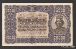 25000 korona 1923. Barna sorozat, és sorszám! aUNC! GYÖNYÖRŰ