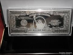 1 MILLIÓ EZÜST USA DOLLÁR BANKJEGY, Ag 999 SZÍNEZÜST BANKJEGYVERET silver banknote