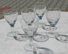 Biedermeier sziszolt likőrös talpas poharak 5db