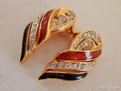 Szép antik jelzett aranyozott fülbevaló
