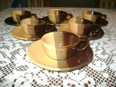 Kellemes színhatású kerámia kávés készlet