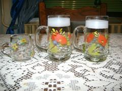 Kézzel festett régi pohár - három darab