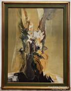 Papp Zoltán (1924-) Csendélet 92x72cm Képcsarnokos olajfesm