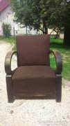 Art deco hajlított karfás fotel csokibarna zsákszövet anyag -Frissen tisztítva