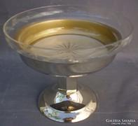 Art deko ezüstözött asztalközép kínáló