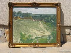 Eladó Kóbor Henrik: Falu látképe olajvászon festménye