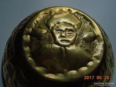 Kézműves réz tál-ritka teve hajcsár portréval és karavánnal-12,5 x 5 cm