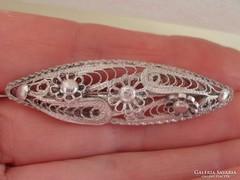 Gyönyörű virág motívumos antik ezüst bross