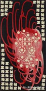 0M156 Jelzetlen absztrakt festmény 40 x 20 cm