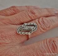 Szép régi nagyméretű markazitos ezüst gyűrű