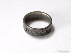 Ezüstbetétes PRO PATRIA 1914 gyűrű szép állapotban.