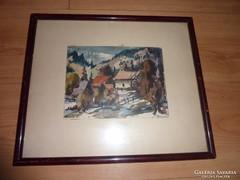 Házak a hegyoldalban, akvarell jelzéssel