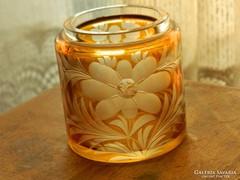 Bohémia kézzel csiszolt narancsszínű üveg tartó