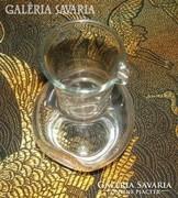 Érdekes, horpasztott oldalú üveg kiöntő - kancsó