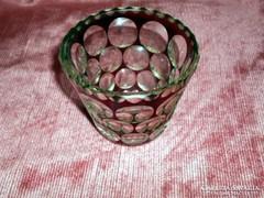 Biedermeier  vastag hántolt üveg pohár