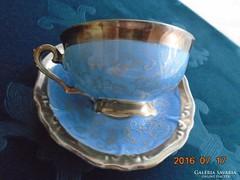 Franz Neukirschner tervezte Ezüstvirágos királykék teás csésze alátéttel Waldershof