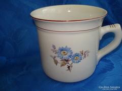 Hollóházi porcelán kék virágos bögre