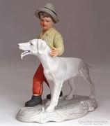 0M863 Biszkvit porcelán vadászkutyás figura 20 cm