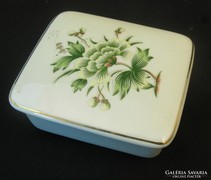 Hollóházi porcelán bonbonier - Erika mintás