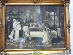 Munkácsy  Mihály -  Két család a szalonban