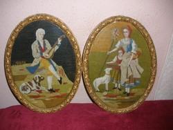Antik ovális gobelin képek 38x29 cm