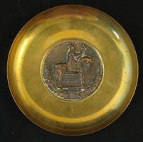 Szent István bronz- sárgaréz fali tálka