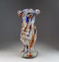 0N056 Régi muránói jellegű művészi üveg váza 21 cm