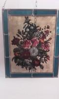 Üvegre festett rózsás kép