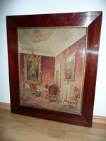 Gyönyörű antik enteriőr festmény szép bieder keretben