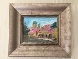 Esztergomi utcakép D. Szabó. (44 cm x 38 cm)  Olajfestmény