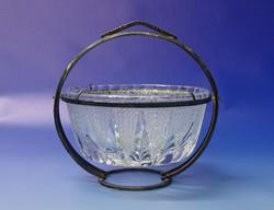 0N363 Régi billenős csiszolt üveg art deco kínáló