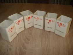 Gránit porcelán virágos fűszertartók ( 6 db)