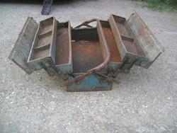 Régi, szétnyitható fém szerszámos láda, szerszám tartó doboz - nagyobb méret
