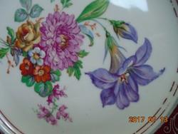 KARLSBAD CARL KNOLL monogrammal,kézzel festett látványos virág mintás,ezüst mintás tányér- 18,5 cm