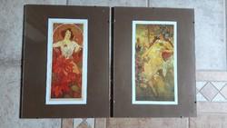 Alfons Mucha: 4 db kép pattintós üvegkeretben