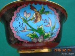 Filigrán rekeszzománc festményszerű antik kínai/japán dísztál