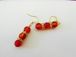Gyönyörű piros-sárgás üveg gyöngy fülbevaló