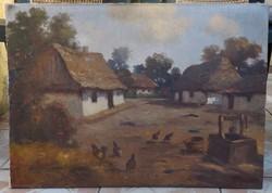 Antik festmény tanyasi élet